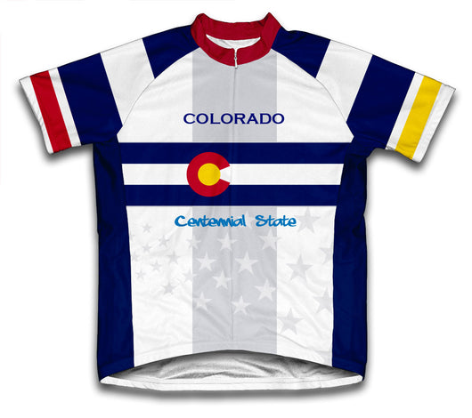 Colorado Flag Short Sleeve Cycling Jersey for Men and Women