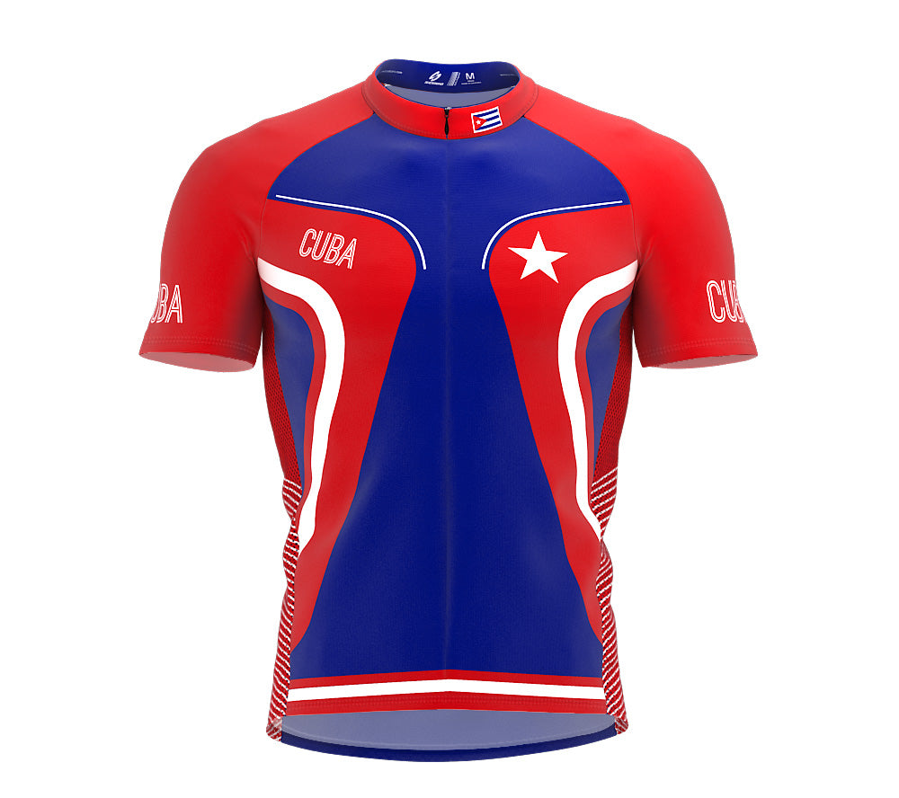 Cuba  Full Zipper Bike Short Sleeve Cycling Jersey