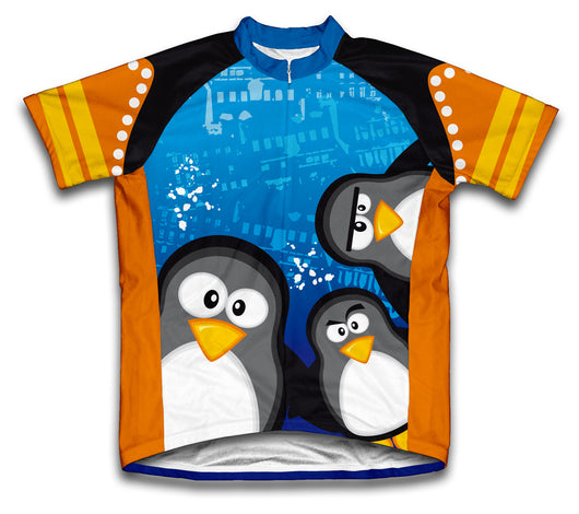 Curious Penguins Short Sleeve Cycling Jersey for Men and Women