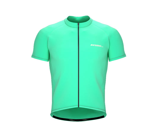 Chroma Contrast |  Short Sleeve Cycling Jersey Cyan - Black zip - Grey seam | Men and Women