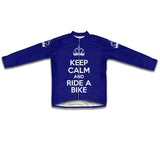 Keep Calm and Ride a Bike Dark Blue Cycling Jersey Long Sleeve