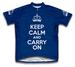 Keep Calm and Carry On Dark Blue Cycling Jersey