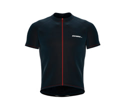 Chroma Contrast |  Short Sleeve Cycling Jersey Dark Blue - Red zip/seam | Men and Women
