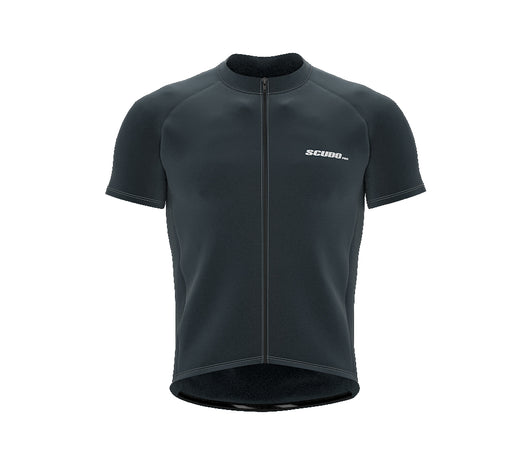 Chroma Contrast |  Short Sleeve Cycling Jersey Dark Blue - Black zip - Grey seam | Men and Women