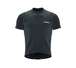 Chroma Contrast |  Short Sleeve Cycling Jersey Dark Grey - Black zip - Red seam | Men and Women