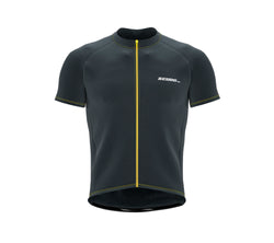 Chroma Contrast |  Short Sleeve Cycling Jersey Dark Grey - Yellow zip/seam | Men and Women