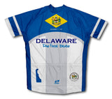 Delaware Flag Short Sleeve Cycling Jersey for Men and Women
