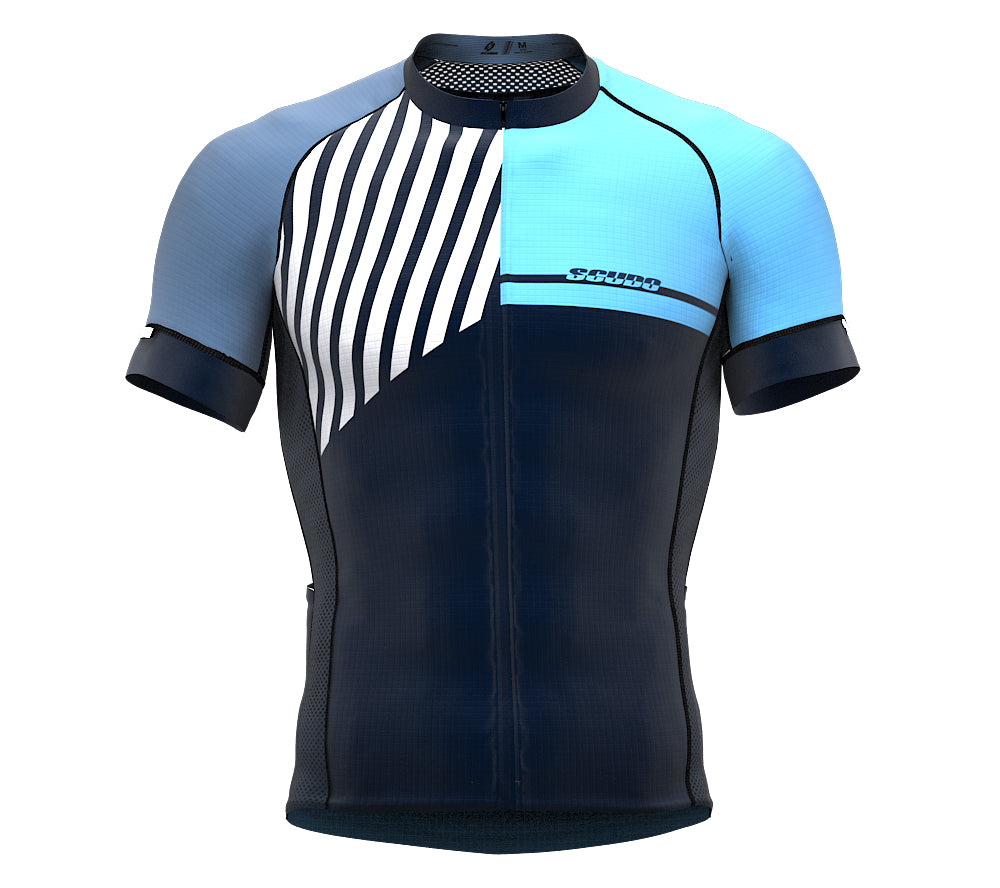 Diagonals Blue Short Sleeve Cycling PRO Jersey