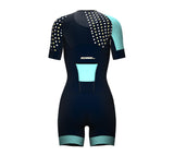 Diagonals Ice Blue Scudopro Cycling Skin Suit Short Sleeve for Woman
