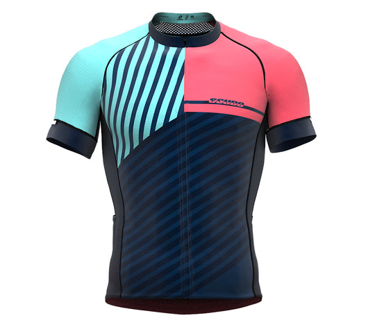 Diagonals Pink Short Sleeve Cycling PRO Jersey