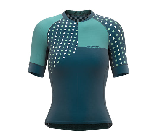 Diagonals Turquoise Short Sleeve Cycling PRO Jersey