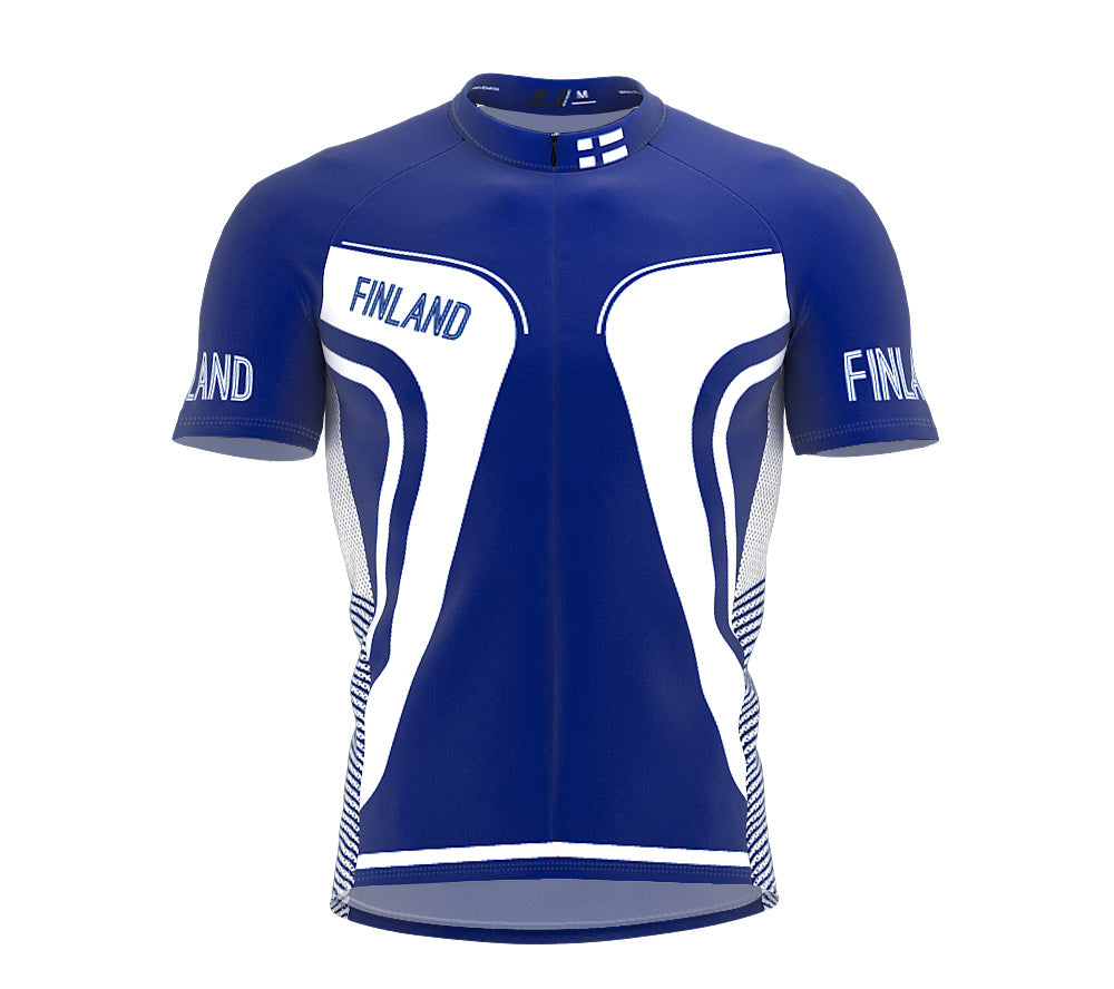 Finland  Full Zipper Bike Short Sleeve Cycling Jersey