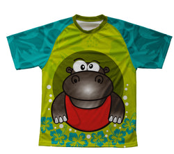 Flowery Hippo Technical T-Shirt for Men and Women
