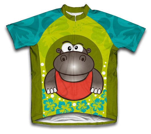 Flowery Hippo Short Sleeve Cycling Jersey for Men and Women