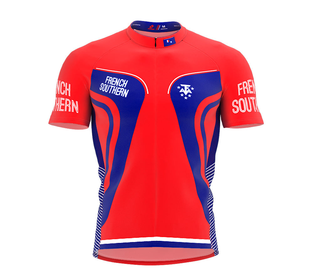 French Southern  Full Zipper Bike Short Sleeve Cycling Jersey