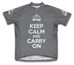 Keep Calm and Carry On Gray Cycling Jersey