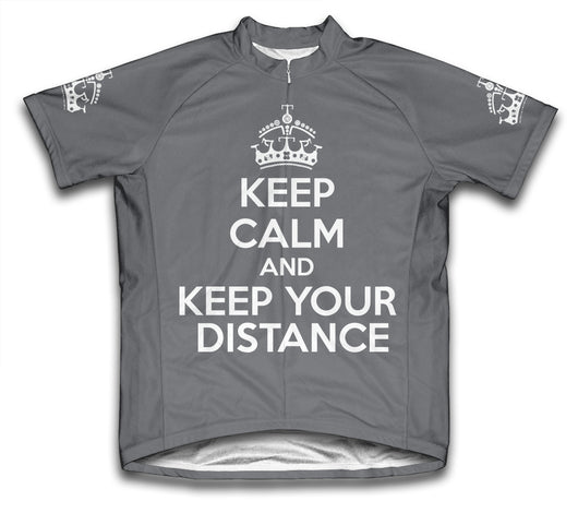 Keep Calm and Keep Your Distance Gray Cycling Jersey