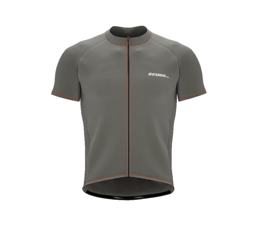Chroma Contrast |  Short Sleeve Cycling Jersey Grey - Black zip - Orange seam | Men and Women