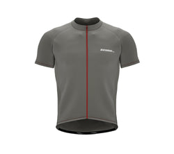 Chroma Contrast |  Short Sleeve Cycling Jersey Grey - Red zip/seam | Men and Women
