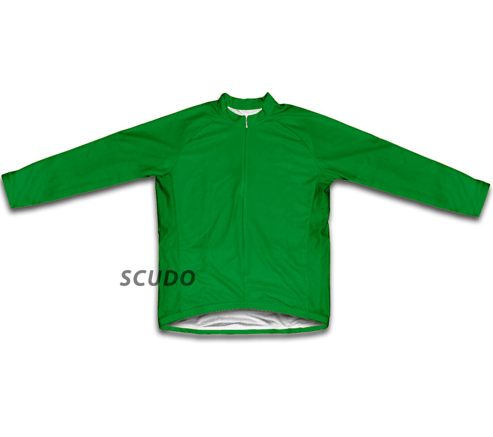 Keep Calm and Ride a Bike Green Winter Thermal Cycling Jersey
