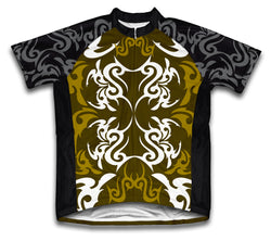 Green Black Tattoo Sheme Short Sleeve Cycling Jersey for Men and Women