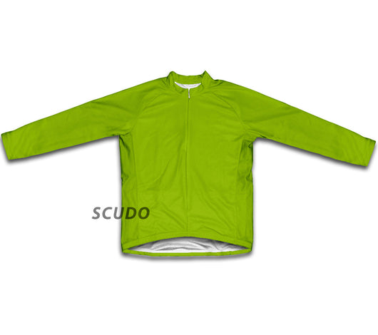 Keep Calm and Bike On Green Neon Winter Thermal Cycling Jersey