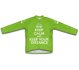 Keep Calm and Keep Your Distance Green Neon Cycling Jersey Long Sleeve