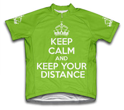Keep Calm and Keep Your Distance Green Neon Cycling Jersey