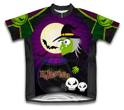 Halloween Witch Short Sleeve Cycling Jersey for Men and Women
