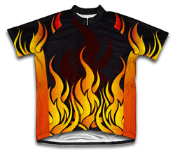 Hot Flames Short Sleeve Cycling Jersey for Men and Women