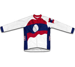 Laos Flag Winter Thermal Cycling Jersey