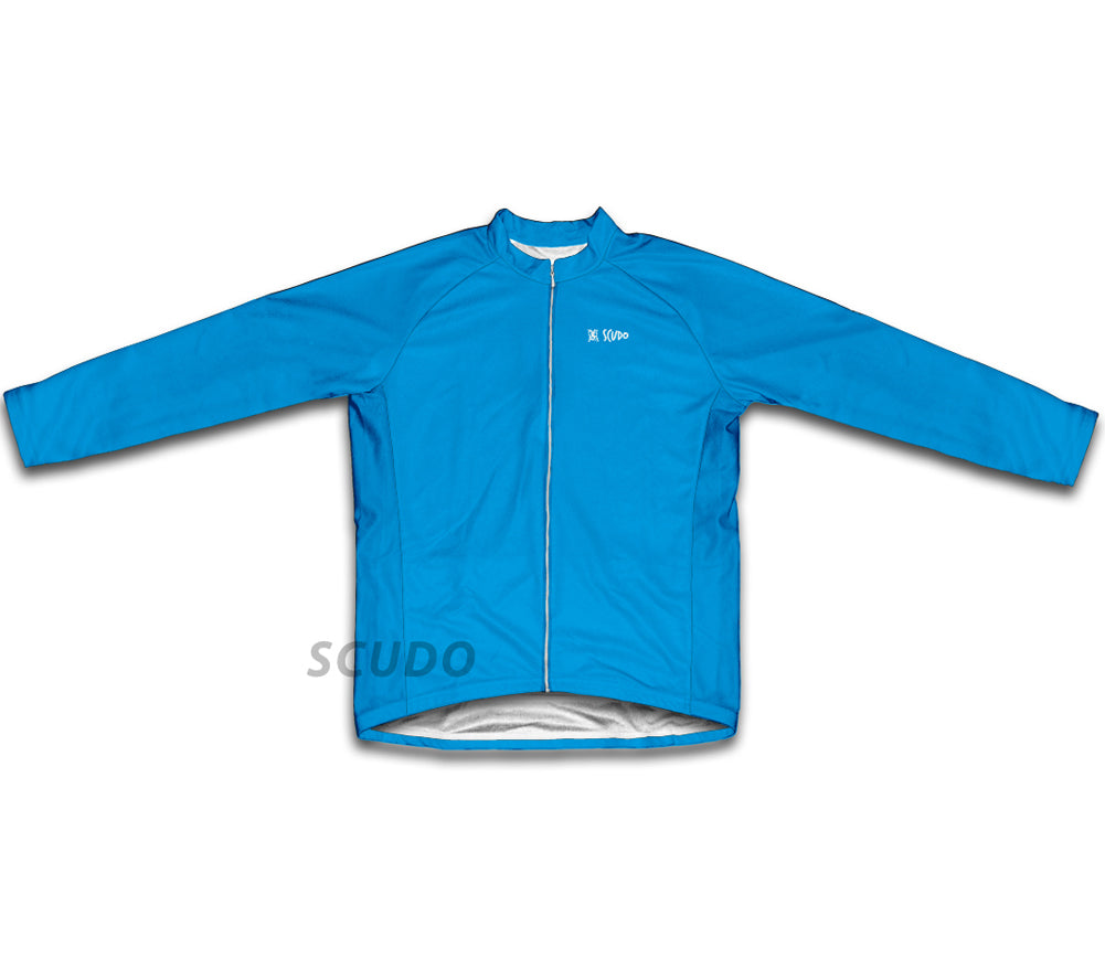 Keep Calm and Pedal On Light Blue Winter Thermal Cycling Jersey