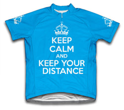 Keep Calm and Keep Your Distance Light Blue Cycling Jersey