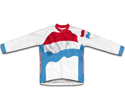 Luxembourg Flag Winter Thermal Cycling Jersey