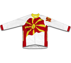 Macedonia Flag Winter Thermal Cycling Jersey