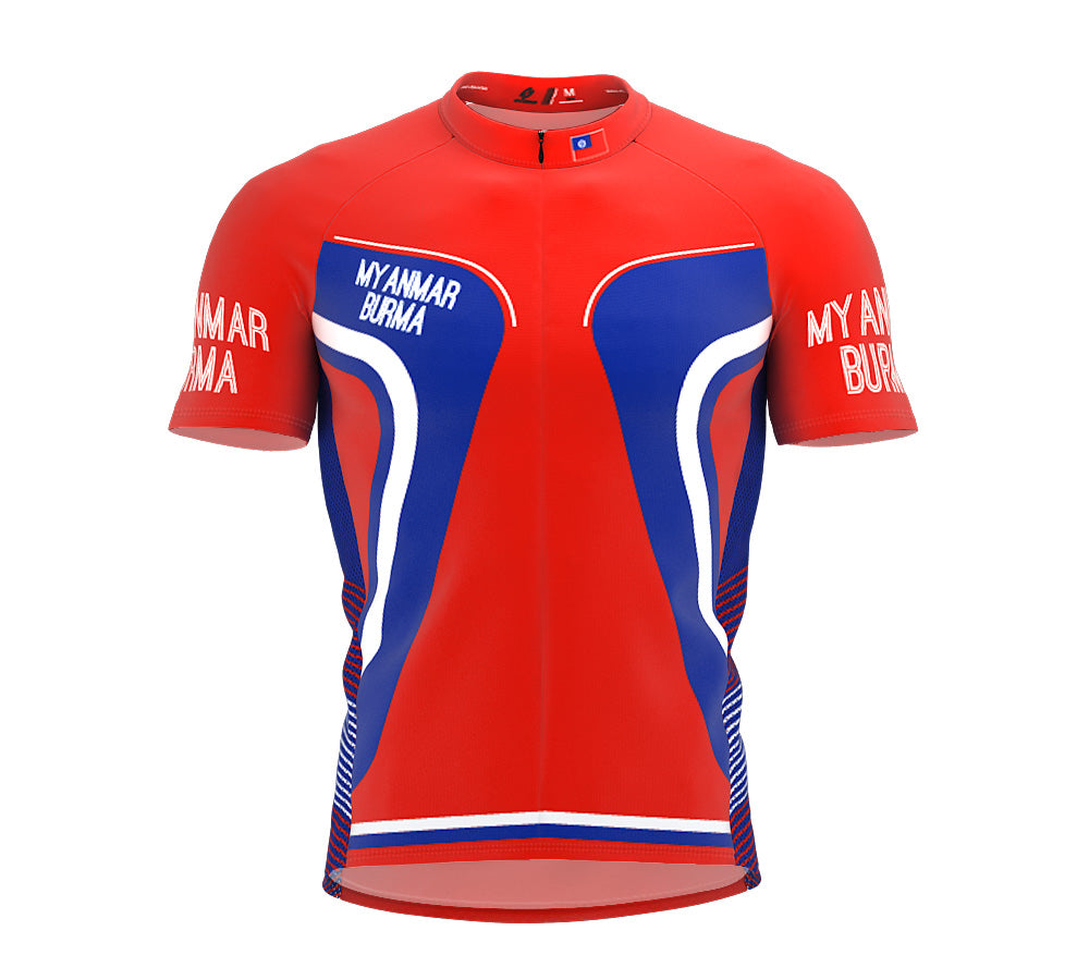 Myanmar-Burma  Full Zipper Bike Short Sleeve Cycling Jersey