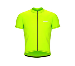 Chroma Contrast |  Short Sleeve Cycling Jersey Neon Green - Black zip - Blue seam | Men and Women