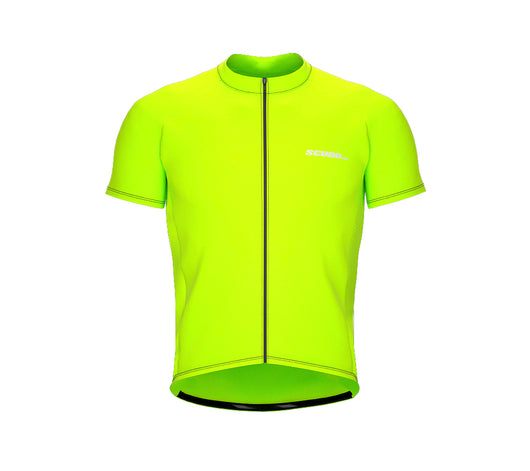 Chroma Contrast |  Short Sleeve Cycling Jersey Neon Green - Grey zip/seam | Men and Women