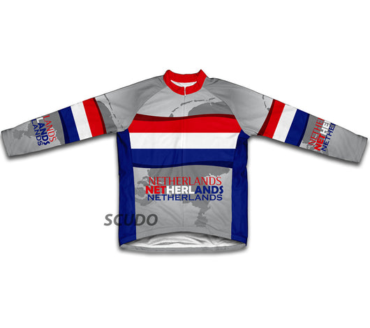 Netherlands Flag Winter Thermal Cycling Jersey