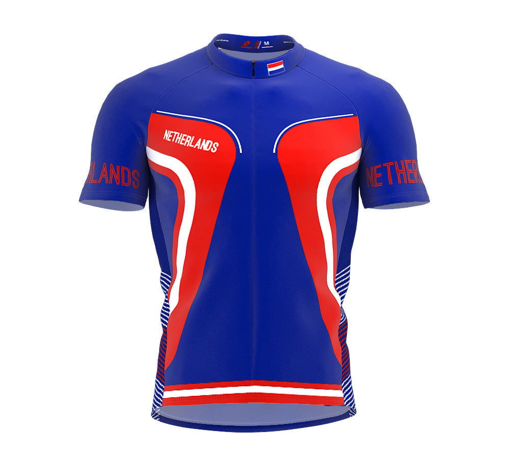 Netherlands  Full Zipper Bike Short Sleeve Cycling Jersey