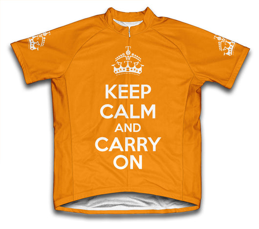 Keep Calm and Carry On Orange Cycling Jersey