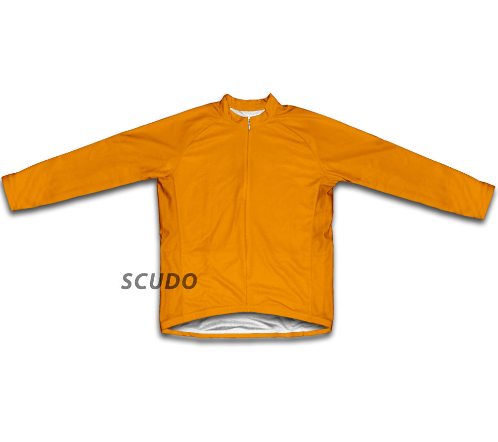 Keep Calm and Pedal On Orange Winter Thermal Cycling Jersey