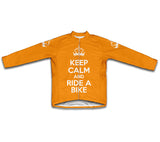 Keep Calm and Ride a Bike Orange Cycling Jersey Long Sleeve