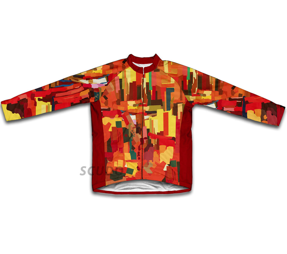 Orange Abstract Winter Thermal Cycling Jersey