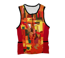 Orange Abstract Triathlon Top