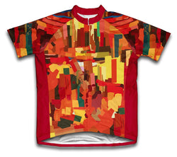 Orange Abstract Short Sleeve Cycling Jersey for Men and Women