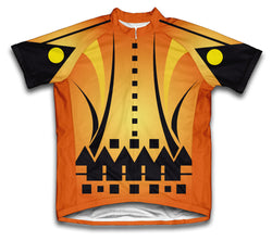 Orange Distorted Short Sleeve Cycling Jersey for Men and Women
