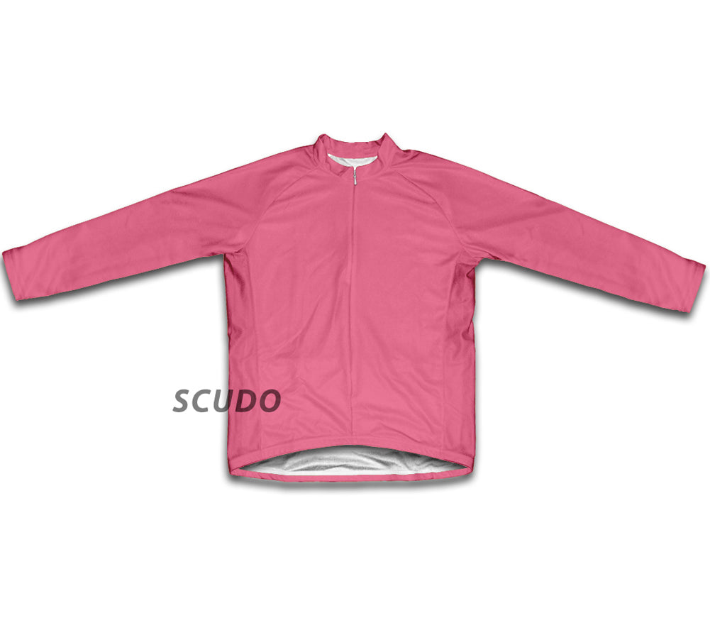 Keep Calm and Pedal On Pink Winter Thermal Cycling Jersey