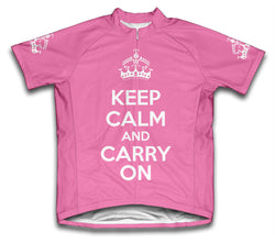 Keep Calm and Carry On Pink Cycling Jersey