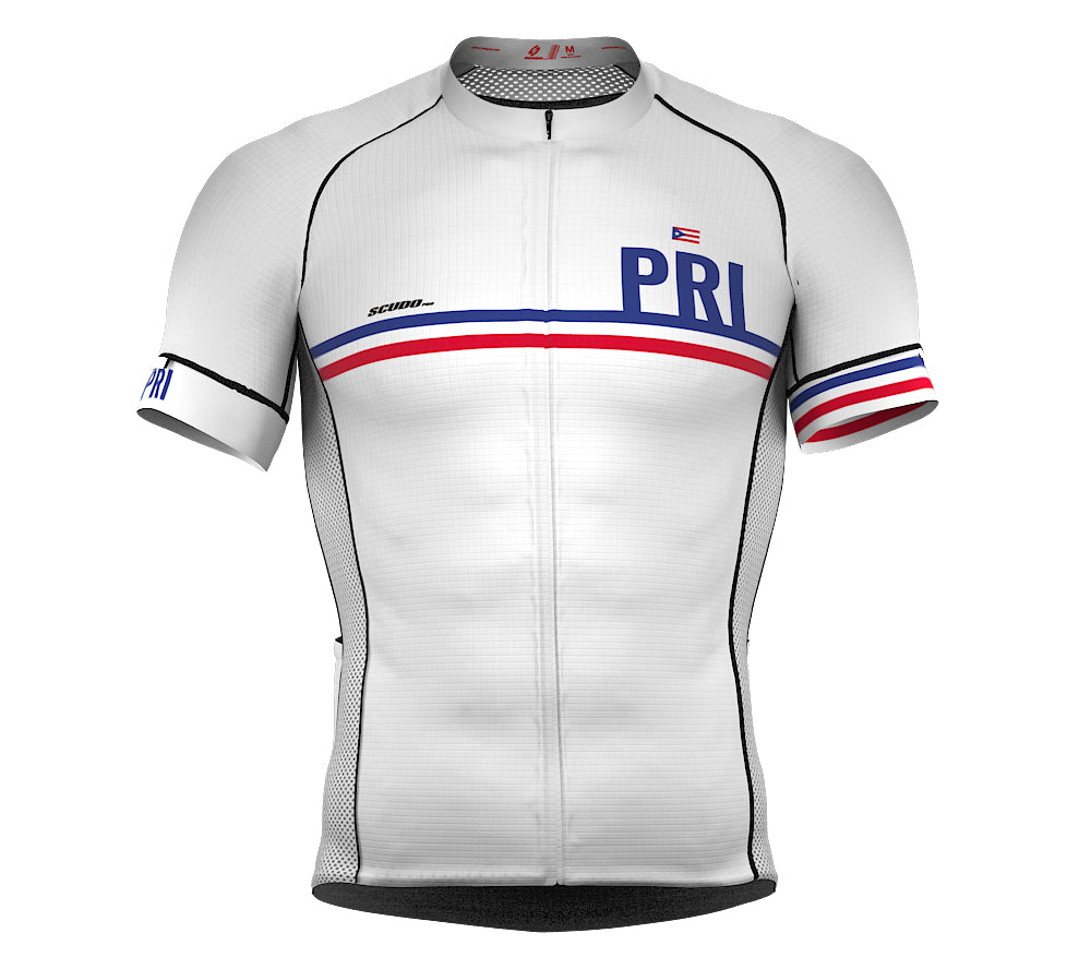 Puerto Rico White CODE Short Sleeve Cycling PRO Jersey for Men and WomenPuerto Rico White CODE Short Sleeve Cycling PRO Jersey for Men and Women